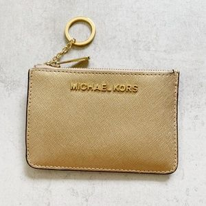 Michael Kors Card Coin Pouch Keychain Gold